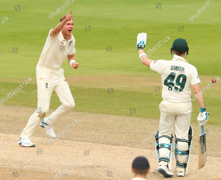 BIRMINGHAM, ENGLAND. 04 AUGUST Stuart Broad of England appeals for the wicket of Matthew Wade of Australia during day 3 of the 1st Specsavers Ashes Test Match, at Edgbaston Cricket Ground, Birmingham, England
