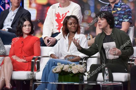 "Lucy Hale, Ashleigh Murray, Jonny Beauchamp. Lucy Hale, from left, Ashleigh Murray and Jonny Beauchamp participate in The CW ""Katy Keene"" panel during the Summer 2019 Television Critics Association Press Tour at the Beverly Hilton Hotel, in Beverly Hills, Calif"