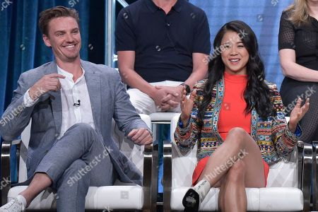 """Riley Smith, Leah Lewis. Riley Smith, left, and Leah Lewis participate in The CW """"Nancy Drew"""" panel during the Summer 2019 Television Critics Association Press Tour at the Beverly Hilton Hotel, in Beverly Hills, Calif"""