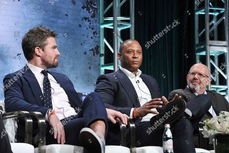 "Stephen Amell, David Ramsey, Marc Guggenheim. Stephen Amell, from left, David Ramsey and Marc Guggenheim participate in The CW ""Arrow: Final Season"" panel during the Summer 2019 Television Critics Association Press Tour at the Beverly Hilton Hotel, in Beverly Hills, Calif"