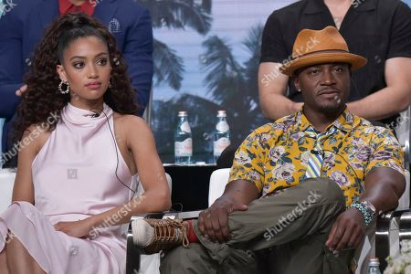 """Stock Photo of Samantha Logan, Taye Diggs. Samantha Logan, left, and Taye Diggs participate in The CW """"All American"""" panel during the Summer 2019 Television Critics Association Press Tour at the Beverly Hilton Hotel, in Beverly Hills, Calif"""