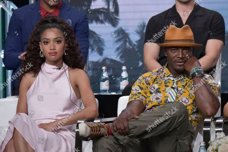 """Stock Picture of Samantha Logan, Taye Diggs. Samantha Logan, left, and Taye Diggs participate in The CW """"All American"""" panel during the Summer 2019 Television Critics Association Press Tour at the Beverly Hilton Hotel, in Beverly Hills, Calif"""