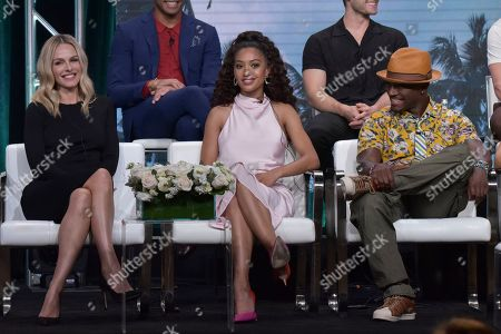 """Monet Mazur, Samantha Logan, Taye Diggs. Monet Mazur, from left, Samantha Logan and Taye Diggs participate in The CW """"All American"""" panel during the Summer 2019 Television Critics Association Press Tour at the Beverly Hilton Hotel, in Beverly Hills, Calif"""