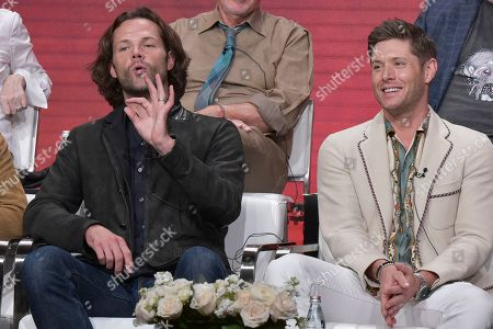 "Jared Padalecki, Jensen Ackles. Jared Padalecki, left, and and Jensen Ackles participate in The CW ""Supernatural: Final Season"" panel during the Summer 2019 Television Critics Association Press Tour at the Beverly Hilton Hotel, in Beverly Hills, Calif"