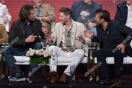 "Jared Padalecki, Jensen Ackles, Misha Collins. Jared Padalecki, left, Jensen Ackles and Misha Collins participate in The CW ""Supernatural: Final Season"" panel during the Summer 2019 Television Critics Association Press Tour at the Beverly Hilton Hotel, in Beverly Hills, Calif"