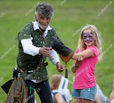 Savannah Phillips during the Bird of Prey display, with falconer Ray Aliker