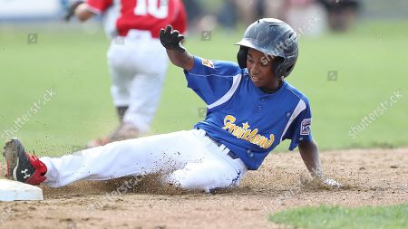 Stock Photo of Maryland's Aidan Davis slides into second base during a Little League regional tournament baseball game against New York, in Bristol, Conn