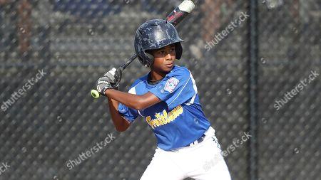 Maryland's Aidan Davis bats during a Little League regional tournament baseball game against New York, in Bristol, Conn