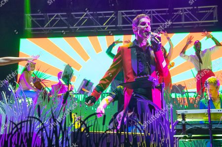 Perry Farrell of Perry Farrell's Kind Heaven Orchestra performs on day four of Lollapalooza in Grant Park, in Chicago
