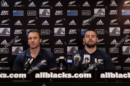 Ben Smith (L) and Dane Coles of the All Blacks during a press conference in Perth, Australia, 05 August 2019. The New Zealand All Blacks and the Australian Wallabies are playing the first of their Rugby Union Bledisloe Cup games at Optus Stadium on 10 August 2019.