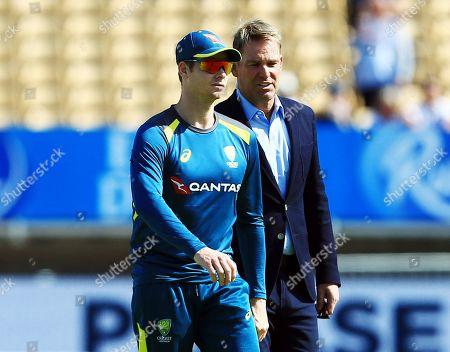 Shane Warne and Steve Smith of Australia ahead of the game
