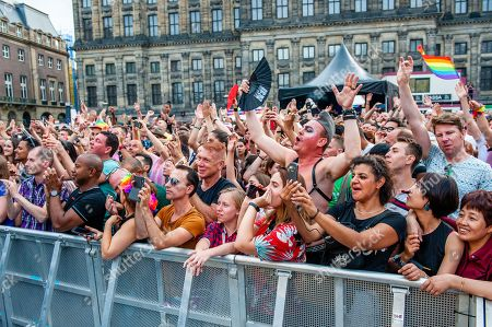A big audience is seen dancing and signing during the performance. Austrian singer and artist, and also the winner of the Eurovision song contest in 2014, Conchita Wurst gave a performance during the final concert of the Pride Amsterdam at the Dam square, in the center of the city. On Sunday, the official end party, where there is always a colourful collection of artists enters the stage.