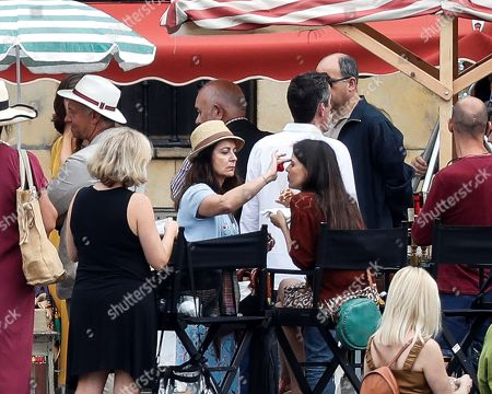 Elena Anaya (C-R) gets ready before the shooting of a scene for the new movie of US filmmaker Woody Allen (unseen) in Pasajes de San Juan town, Gipuzkoa, Basque Country, northern Spain, 05 August 2019. Allen started filming his new movie in Spain on 10 July.