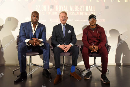 Daniel Dubois (L), Frank Warren and Nicola Adams during a Press Conference at the BT Tower on 5th August 2019