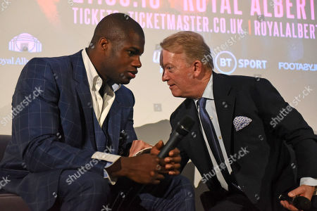 Daniel Dubois (L) and Frank Warren during a Press Conference at the BT Tower on 5th August 2019