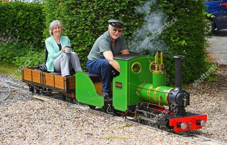 Editorial photo of Steve Bates, who has built a miniature steam railway in his back garden, Waddington, Lincolnshire, UK - 20 Jun 2019