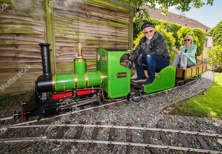 Editorial picture of Steve Bates, who has built a miniature steam railway in his back garden, Waddington, Lincolnshire, UK - 20 Jun 2019