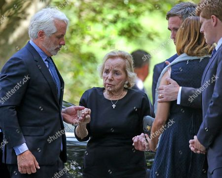 Stock Photo of Ethel Kennedy is helped to the church before the start of funeral services for Saoirse Roisin Kennedy Hill at Our Lady of Victory Church in Centerville, Massachusetts, USA, 05 August 2019. Hill, the 22-year-old granddaughter of Robert F. Kennedy was found unresponsive at the Kennedy compound in Hyannis Port, Massachusetts on 01 August and later pronounced dead.