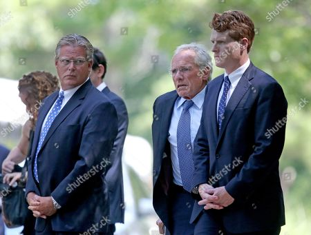 (L-R) Ted Kennedy Jr., Joe Kennedy Jr., and Joe Kennedy lll attend Saoirse Roisin Kennedy Hill's funeral services at Our Lady of Victory Church in Centerville, Massachusetts, USA, 05 August 2019. Hill, the 22-year-old granddaughter of Robert F. Kennedy was found unresponsive at the Kennedy compound in Hyannis Port, Massachusetts on 01 August and later pronounced dead.