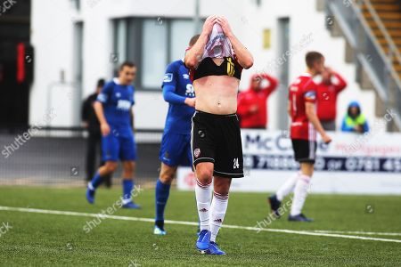 Derry City vs Waterford. Derry's Grant Gillespie reacts to a missed chance