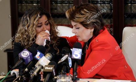 Gloria Allred, Lizzette Martinez. Attorney Gloria Allred, right, comforts Lizzette Martinez, one of R&B singer R. Kelly's alleged victims, during a joint news conference, in Los Angeles