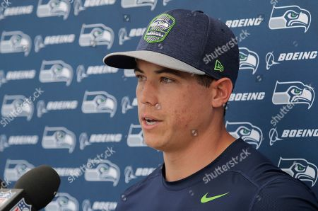 Seattle Seahawks kicker Jason Myers talks to reporters following NFL football training camp, in Renton, Wash
