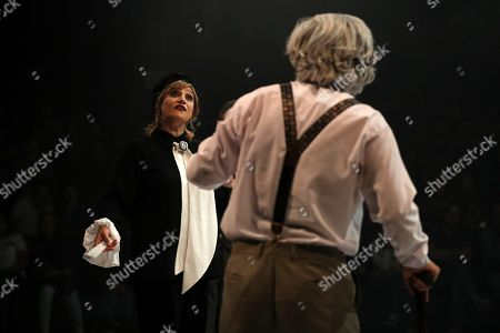 "Stock Photo of Shabnam Moghaddami, Mohammad Habibi. Iranian actress Shabnam Moghaddami, left, and actor Mohammad Habibi perform the play ""My Seagull"" based on Russian writer Anton Chekhov play ""The Seagull"", at Iranshahr Theater in Tehran, Iran"