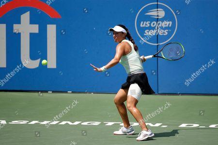 Jessica Pegula returns the ball to Camila Giorgi, of Italy, during a final match at the Citi Open tennis tournament, in Washington