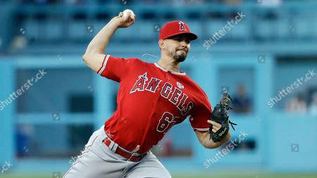 Los Angeles Angels pitcher Taylor Cole during a baseball game against the Los Angeles Dodgers, in Los Angeles