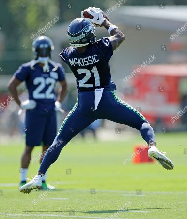 Seattle Seahawks running back J.D. McKissic makes a catch during NFL football training camp, in Renton, Wash