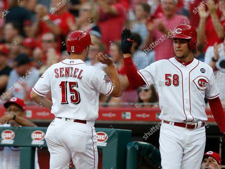 Cincinnati Reds' Nick Senzel (15) is congratulated by Luis Castillo (58) after scoring on a double by Jose Peraza off Los Angeles Angels starting pitcher Taylor Cole during the inning of a baseball game, in Cincinnati