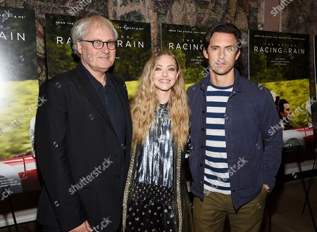 "Simon Curtis, Amanda Seyfried, Milo Ventimiglia. Director Simon Curtis, left, poses with actors Amanda Seyfried and Milo Ventimiglia at a special screening of ""The Art of Racing in the Rain"" at The Whitby Hotel, in New York"