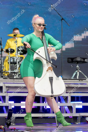 British musician and singer, Grace Chatto performs with Clean Bandit on the main stage