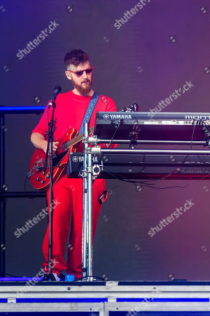 Musician Jack Patterson performs with Clean Bandit on the main stage