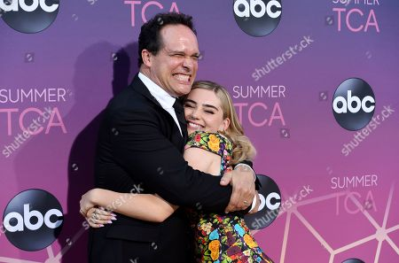 """Diedrich Bader, Meg Donnelly. Diedrich Bader, left, and Meg Donnelly, cast members in the ABC series """"American Housewife,"""" pose together at the ABC Television Critics Association Summer Press Tour All-Star Party at Soho House, in West Hollywood, Calif"""