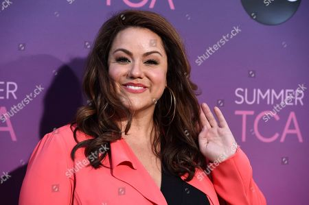 "Katy Mixon, a cast member in the ABC series ""American Housewife,"" poses at the ABC Television Critics Association Summer Press Tour All-Star Party at Soho House, in West Hollywood, Calif"