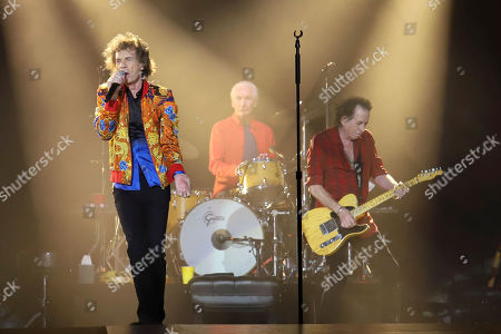 Mick Jagger, Charlie Watts, Keith Richards. Mick Jagger, from left, Charlie Watts and Keith Richards of The Rolling Stones perform at MetLife Stadium, in East Rutherford, N.J