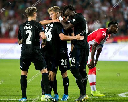 Dame N'Doye of FC Copenhagen, Guillermo Varela of FC Copenhagen, Mas Jaume of FC Copenhagen and Carlo Holse of FC Copenhagen celebrate the penalty kick
