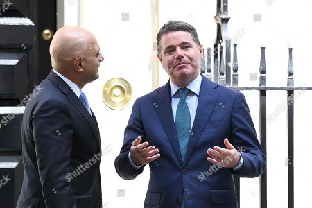 Stock Image of Sajid Javid, Chancellor of the Exchequer, greets Paschal Donohoe, The Minister for Finance of The Republic of Ireland at No.11 Downing Street.