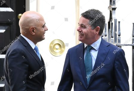 Stock Photo of Sajid Javid, Chancellor of the Exchequer, greets Paschal Donohoe, The Minister for Finance of The Republic of Ireland at No.11 Downing Street.