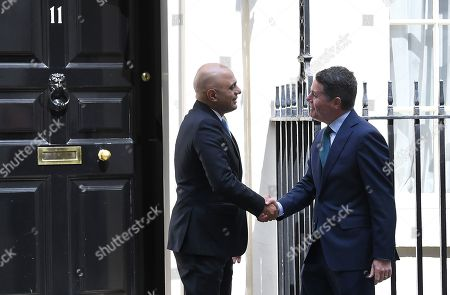 Sajid Javid, Chancellor of the Exchequer, greets Paschal Donohoe, The Minister for Finance of The Republic of Ireland at No.11 Downing Street.