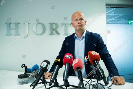 Stock Picture of Lawyer Svein Holden addresses members of the media in Oslo, Norway, 06 August 2019. Media reports state Svein Holden briefed the media about the latest developments in the case of missing of the wife of Norway's richest man, Anne-Elisabeth Falkevik Hagen, who has been missing since October 2018 from Lorenskog.