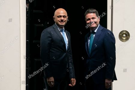 British Chancellor of the Exchequer Sajid Javid (L) and Ireland's Minister for Finance Paschal Donohoe (R) outside the Chancellor residence 11 Downing Street in London, Britain, 06 August 2019. Reports state that the British government has rejected claims made by the European Union that the Withdrawal Agreement can not be renegotiated.