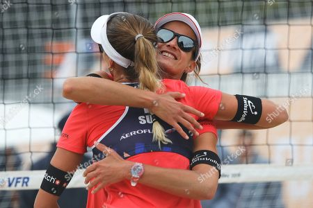 Anouk Verge-Depre, Joana Heidrich. Switzerland's Joana Heidrich, right, and Anouk Verge-Depre react during their match against Germany's Laura Ludwig and Margareta Kozuch at the Beach Volleyball European Championship in Moscow, Russia