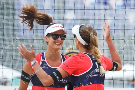 Anouk Verge-Depre, Joana Heidrich. Switzerland's Joana Heidrich, left, and Anouk Verge-Depre react during their match against Germany's Laura Ludwig and Margareta Kozuch at the Beach Volleyball European Championship in Moscow, Russia