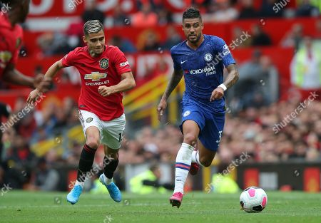 Emerson Palmieri of Chelsea and Andreas Pereira of Manchester United