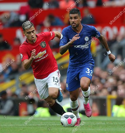Andreas Pereira of Manchester United and Emerson Palmieri of Chelsea