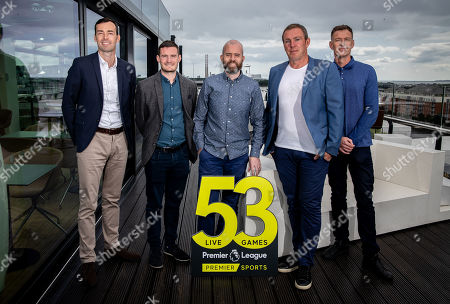 Premier Sports today unveiled a new, fresh and exciting broadcast team for its coverage of the 2019/2020 Premier League Season featuring analysts Richard Dunne and Kenny Cunningham, host Eoin McDevitt and commentators Des Curran, Gary Breen and Clive Tyldesley. Pictured today is (L-R) Gary Breen, Shane Hogan, Marketing Manager Premier Sports, Eoin McDevitt, Richard Dunne and Chris Sutton