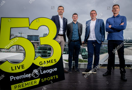 Premier Sports today unveiled a new, fresh and exciting broadcast team for its coverage of the 2019/2020 Premier League Season featuring analysts Richard Dunne and Kenny Cunningham, host Eoin McDevitt and commentators Des Curran, Gary Breen and Clive Tyldesley. Pictured today is (L-R) Gary Breen, Shane Hogan, Marketing Manager Premier Sports, Richard Dunne and Chris Sutton