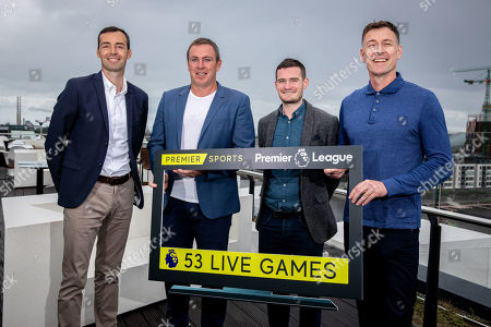 Premier Sports today unveiled a new, fresh and exciting broadcast team for its coverage of the 2019/2020 Premier League Season featuring analysts Richard Dunne and Kenny Cunningham, host Eoin McDevitt and commentators Des Curran, Gary Breen and Clive Tyldesley. Pictured today is (L-R) Gary Breen, Richard Dunne, Shane Hogan, Marketing Manager Premier Sports and Chris Sutton
